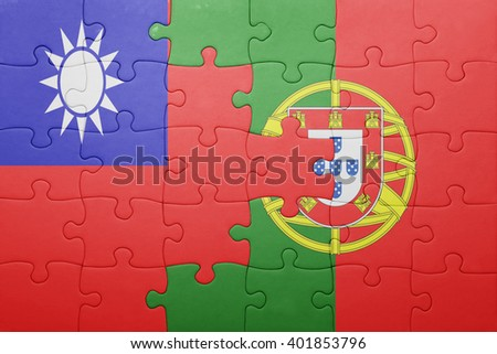 puzzle with the national flag of portugal and taiwan . concept - stock photo