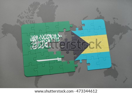 puzzle with the national flag of saudi arabia and bahamas on a world map background. 3D illustration