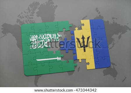 puzzle with the national flag of saudi arabia and barbados on a world map background. 3D illustration