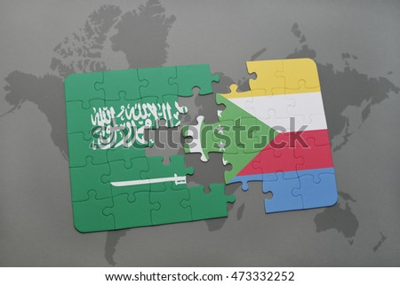 puzzle with the national flag of saudi arabia and comoros on a world map background. 3D illustration