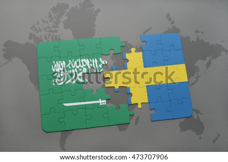 puzzle with the national flag of saudi arabia and sweden on a world map background. 3D illustration