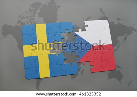 puzzle with the national flag of sweden and czech republic on a world map background. 3D illustration