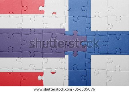 puzzle with the national flag of thailand and finland . concept
