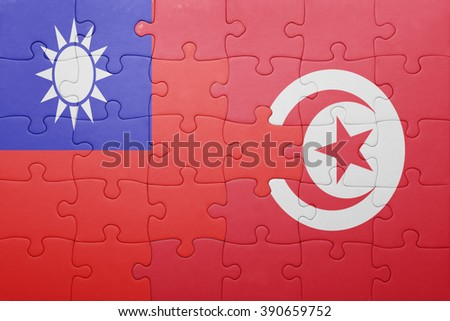 puzzle with the national flag of tunisia and taiwan . concept - stock photo