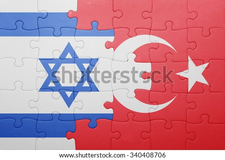 puzzle with the national flag of turkey and israel . concept - stock photo