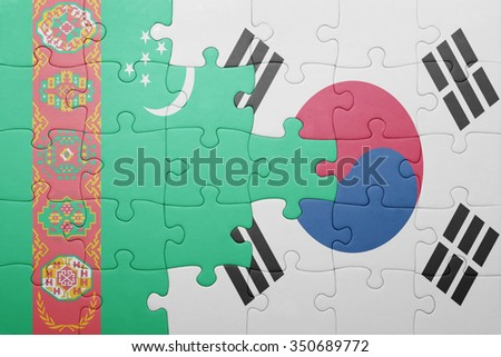 puzzle with the national flag of turkmenistan and south korea . concept