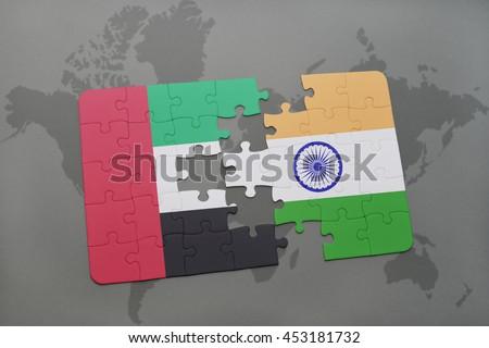 Puzzle national flag united arab emirates stock illustration puzzle with the national flag of united arab emirates and india on a world map background gumiabroncs Gallery