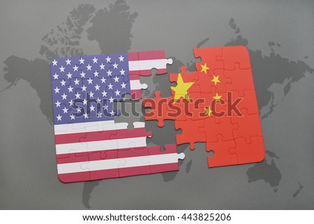 Piece puzzle china usa ilustracin en stock 61384573 shutterstock puzzle with the national flag of united states of america and china on a world map gumiabroncs Gallery