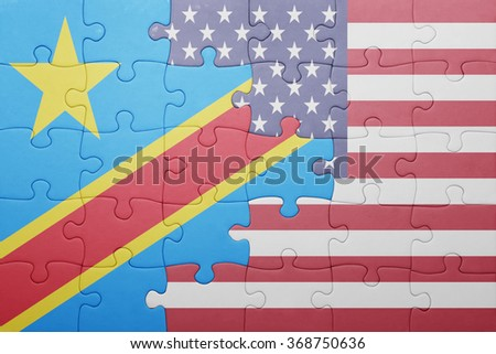 puzzle with the national flag of united states of america and  democratic republic of the congo.concept