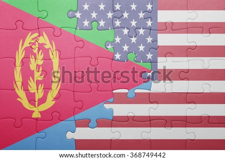 puzzle with the national flag of united states of america and eritrea .concept