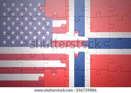 puzzle with the national flag of united states of america and  norway.concept