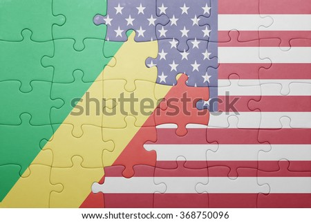 puzzle with the national flag of united states of america and republic congo .concept - stock photo