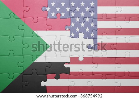 puzzle with the national flag of united states of america and sudan .concept - stock photo