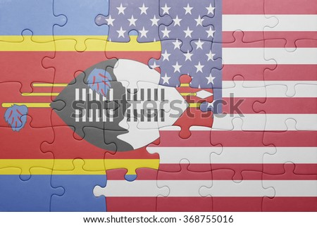 puzzle with the national flag of united states of america and swaziland .concept - stock photo