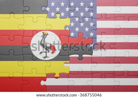 puzzle with the national flag of united states of america and uganda .concept - stock photo