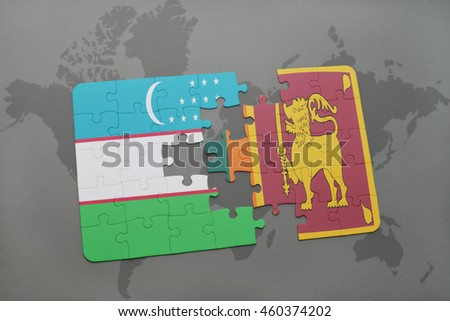 puzzle with the national flag of uzbekistan and sri lanka on a world map background. 3D illustration