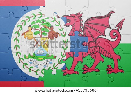 puzzle with the national flag of wales and belize . concept