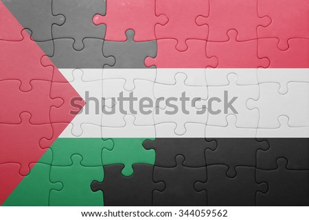 puzzle with the national flag of yemen and palestine . concept