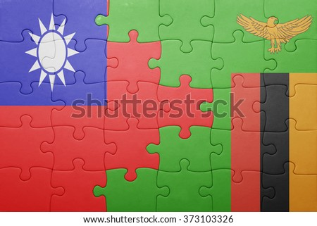 puzzle with the national flag of zambia and taiwan . concept - stock photo