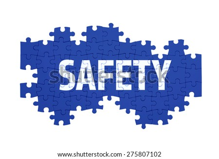 Puzzle with the SAFETY word  isolated on white  - stock photo