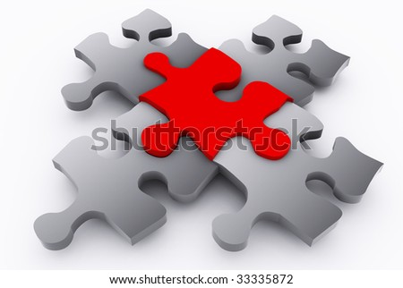 puzzle with unique red piece - stock photo