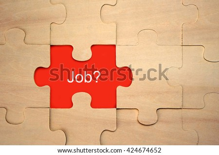 Puzzle with word Job? - stock photo