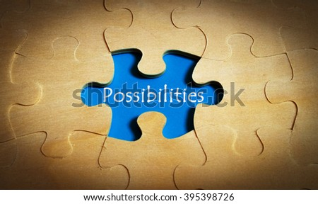 Puzzle with word possibilities - stock photo