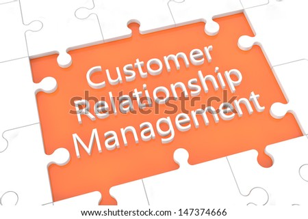 puzzle with words on orange background concept: Customer Relationship Management - stock photo