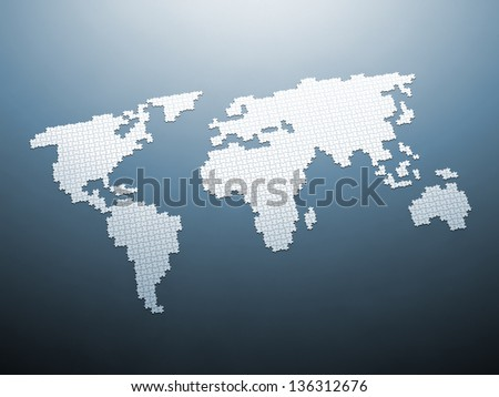 Puzzle world map 3d render - stock photo