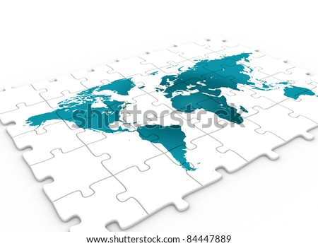 Puzzle world map.