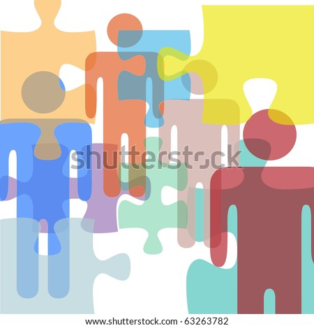 Puzzled or troubled people face problems or confusion as symbols in a mental health or business abstract - stock photo