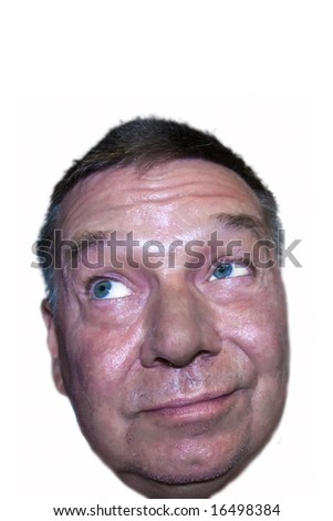 Puzzled senior man needing a shave looking upward into the camera, isolated on white background - stock photo