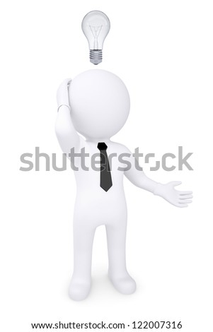 Puzzled white 3d man with light bulb over his head. Isolated render on a white background - stock photo