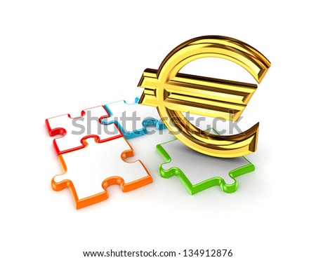 Puzzles and symbol of Euro.Isolated on white background.3d rendered. - stock photo
