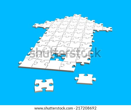 puzzles in arrow shape isolated on blue - stock photo
