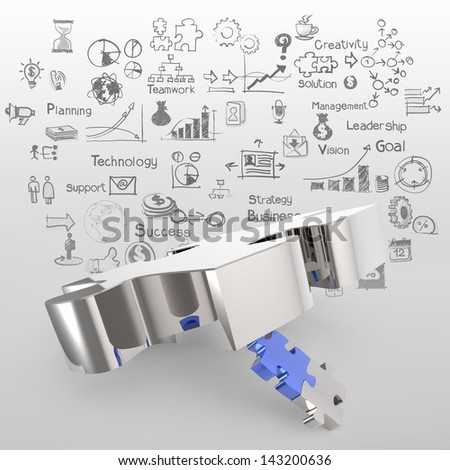 puzzles partnership as concept - stock photo