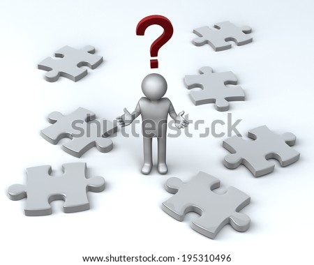 Puzzling Question Puzzled Figure amongst Jigsaw Pieces. 3D rendered reflective on white background