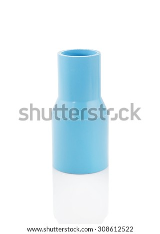 pvc pipe reduce connection on a white background - stock photo