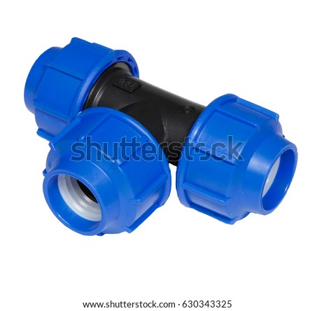 Pvc plastic water pipe connection t stock photo royalty for White plastic water pipe