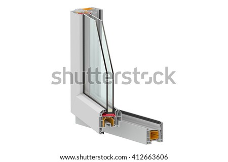 PVC window detail, 3D rendering isolated on white background - stock photo