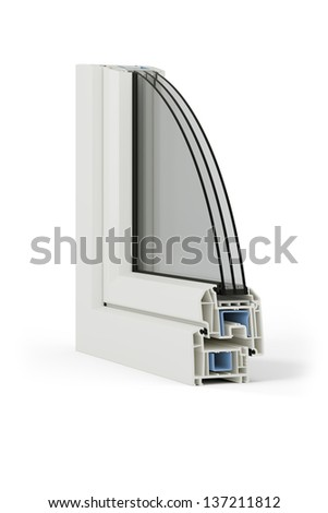 PVC window sample isolated on white - stock photo