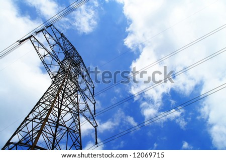 pylon against a blue sky - stock photo