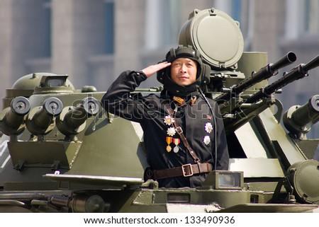 PYONGYANG, NORTH KOREA - CIRCA APRIL 2012 : North Korean  soldier at the military parade in Pyongyang circa April 2012. - stock photo