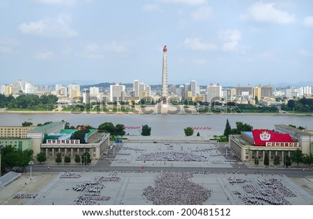 PYONGYANG, NORTH KOREA - JULY 28, 2012: View of the downtown Pyongyang capital of the North Korea - stock photo