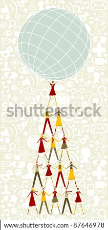 Pyramid as Christmas tree of people holding the world with social icons pattern background. - stock photo