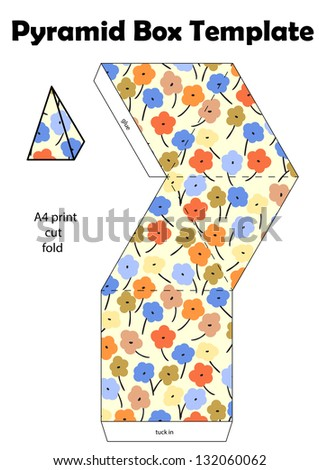 Pyramid box template, with floral texture - a4 print - stock photo