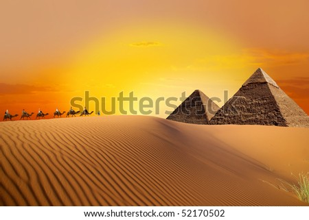 Pyramid, camel and sunset - stock photo