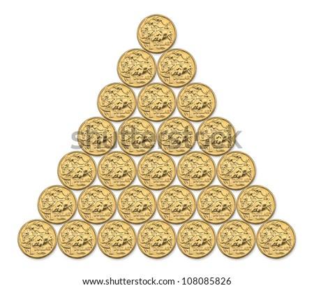 Pyramid composite photo of Australian one dollar coins - stock photo