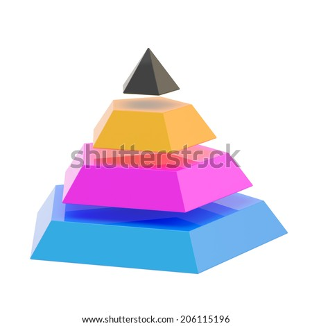 Pyramid divided into four cmyk colored segment layers, isolated over the white background - stock photo