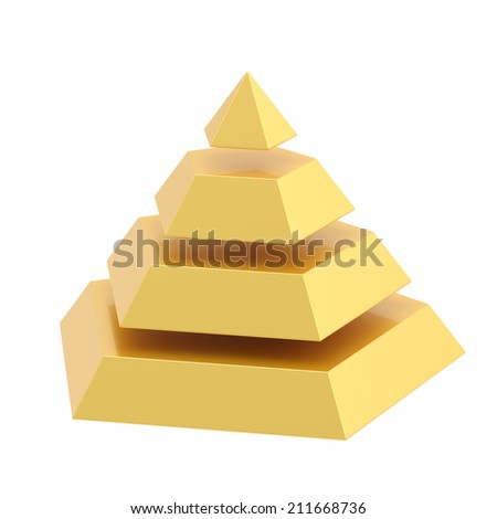 Pyramid divided into four golden segment layers, isolated over the white background - stock photo